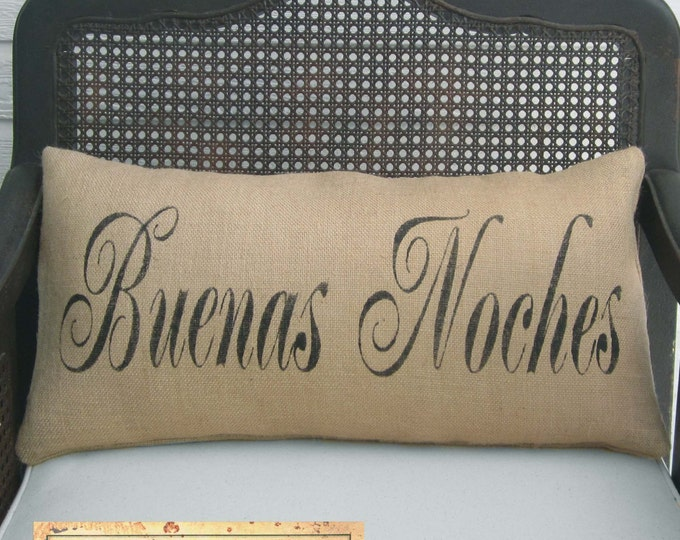 Good Night in any Language -  Burlap Pillow - Personalize with the language of your choice - Bonne Nuit Pillow