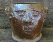 rustic FACE JUG JAR by Joel Patton