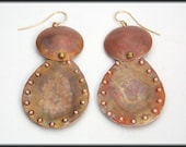 DELHI - Handforged Flamed Dimpled 2 pc Long Copper Earrings