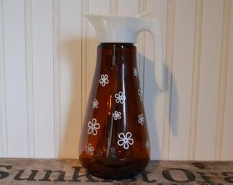 Vintage Amber Syrup Pitcher, Retro, White Daisy,