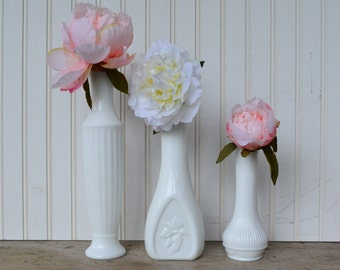 Trio of Bud Vases, Milk Glass,