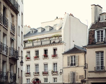 "Paris Apartments, Paris Photography, White Wall Art, French Home Decor, Paris Decor, St Germain des Pres, ""A Cozy Corner"""