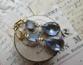 sapphire earrings, blue beach glass earrings, assemblage earrings, beach wedding earrings, light blue bridal earrings.