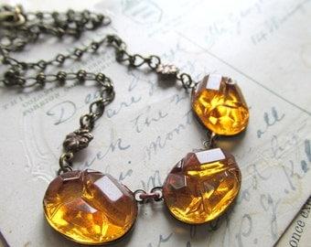 "October birthstone, rare topaz rocky rhinestone, woodland necklace.  ""Warmth"""