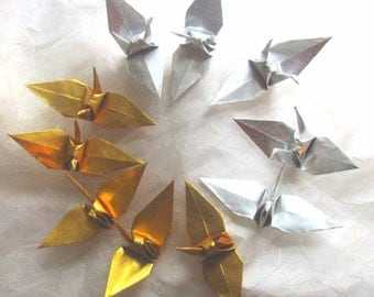 10 Wedding Party Favors Classic Origami Peace Cranes Bird Table Decor Gold Silver Eco Friendly Paper Anniversary Traditional Party Favors