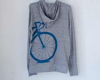 BICYCLE HOODIE MEDIUM Road Bike Close-Up, Blue on Heathered Gray M