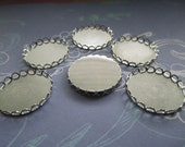 Round Bezel Lace Edge Cabochon Settings 23mm Silver Tone Findings on Etsy x 6