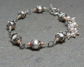 Sterling Silver, Pearl Bracelet Chain Link White Pearl Cluster Toggle Clasp