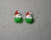 Santa Frog hopping down the chimney