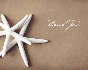 25 per set-  Thank You folded cards - White Starfish on brown