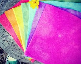 hand dyed wool felt  in individual rainbow colours approx 22x22cm