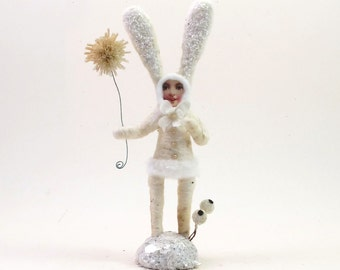 Vintage Inspired Spun Cotton White Snow Bunny Figure