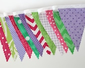 Mermaid Party Mix Bunting party decoration. Fabric sewn flag Banner. Photo prop. 12 Pennant flags