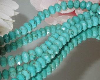 20 Turquoise Magnesite Facet Rondelle- 4x6mm- Bastet's Beads