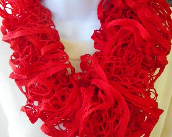 Solid Red Ruffle Scarf