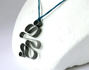 Tango Pendant Hand wrapped Stainless Steel Metal Necklace on Pure Silk Necessary Jewelry 1008