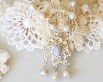 Bridal lace, Vintage lace pendant, Lace jewelry, Sterling, blue lace agate, and pearl necklace, Bridal jewelry, antique lace