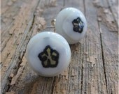 Fused Glass Earrings in Light Grey , White with Black Flower and Sterling Silver posts