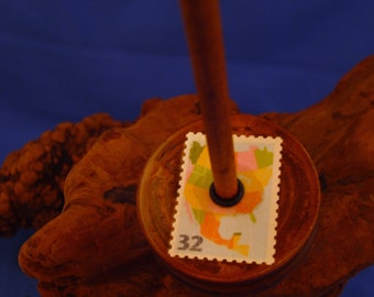 """Vintage Wooden Pulley Bottom Drop Spindle  """" United States and Mexico"""" #1096"""