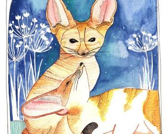 Art Print - Home Decor Art Print - Wall Art - Fox Art - Fennec Foxes - Fennec Fox Print - 8 x 10 Print  - Two Foxes