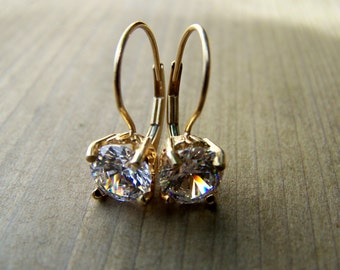 14K Solid Gold, CZ,  Leverback earwire