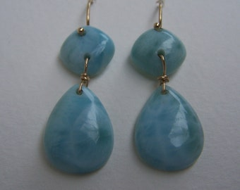 Larimar smooth briolette, 14k Solid Gold  earwire