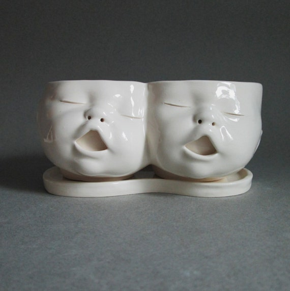 MADE TO ORDER Two Headed Baby Planter