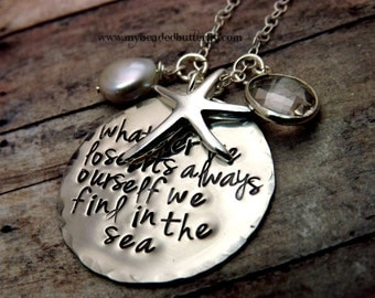 nautical necklace-beach necklace-For whatever we lose, its always ourself we find in the sea -sterlingsilver necklace-personalized necklace