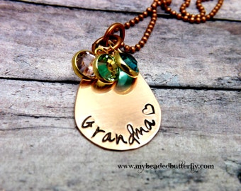 Grandmother necklace-personalized necklace-hand stamped jewelry-copper necklace