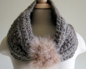 The Juno Winter Cowl -  Barley Brown with Tan Faux Fur Trim - Oversize, Chunky, Warm