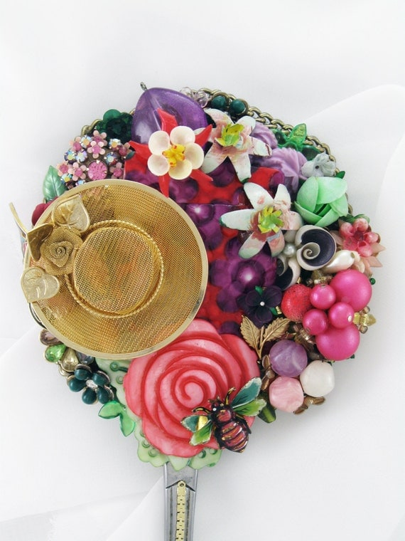 ON SALE NOW - Hand Mirror - Recycled Monet's Garden - Upcycled Jewelry - M000650
