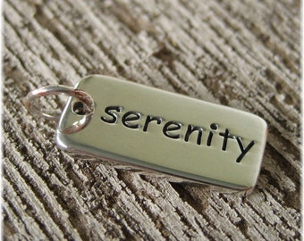 Serenity Word Charm - Sterling Silver Serenity Necklace - AA