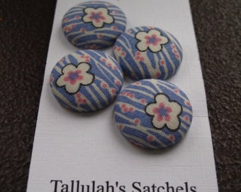 Wearable Sew On Fabric Covered Buttons - Size 36 or  7/8 inches  Pink and White Flowers on Blue