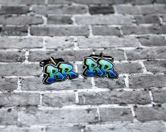 Custom Graffiti Initial Cuff Links Father's day Dad Son Wedding Groomsmen Gift personalized