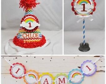 Rainbow Smash Cake Photo Props- Set of 3- Girl 1st Birthday- Personalized