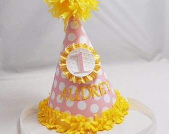 Pink Lemonade Party Hat- 1st Birthday- Personalized