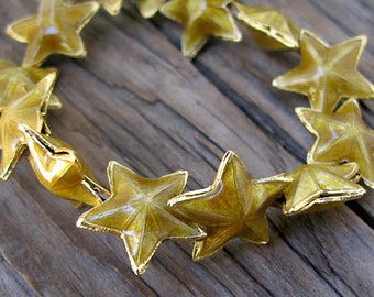 SALE--Qty 5 Exotic Gold Enamel Star Beads, 17mm -Set of 5