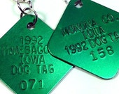 Vintage Green Dog Tag License TAG Earrings Iowa 1992