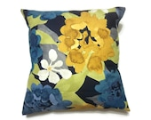 Decorative Pillow Cover Modern Bold Floral Design Multicolored Blue White Gold Green Black Same Fabric Front/Back  Throw Toss 18 x 18 inch x
