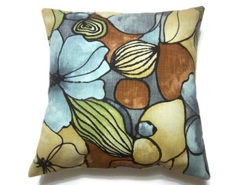 Decorative Pillow Cover Blue Brown Yellow Kiwi Black Gray Modern Floral  Same Fabric Front/Back Toss Throw Accent Cover 18x18 in x