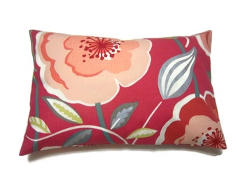 Decorative Pillow Cover Hot Pink Peach Orange Tangerine Metallic Silver Teal Green Same Fabric Front/Back Bold Floral Design Lumbar 12x18 x