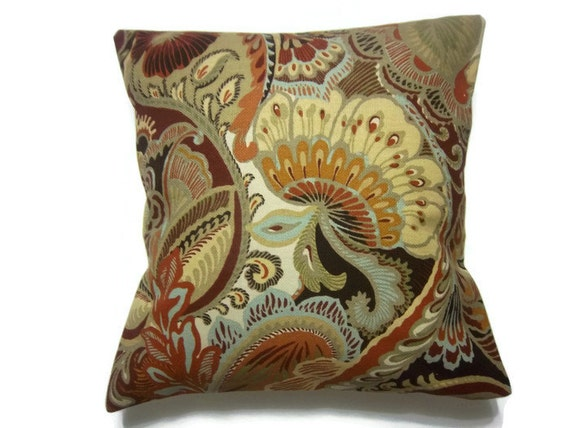 Decorative Pillow Cover Rust Orange Green Gold Blue Brown Paisley Handmade Throw Toss Accent Cover16 inch
