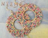 Hoop Earrings Wildflower Meadow - Big Beaded Hoops - Hoop Bead Earrings