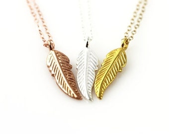 Feather necklace - sterling silver, rose gold or yellow gold