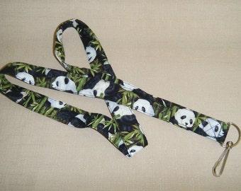 Pandas - Handmade fabric lanyard
