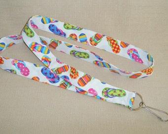 Flip Flops4 - Handmade fabric lanyard