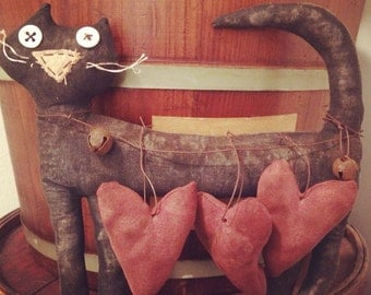 Primitive Valentine's Day Cat