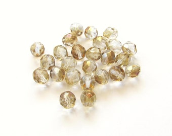 Crystal Faceted Round Glass Czech Beads with Golden Twilight Finish, 8mm - 25 pieces
