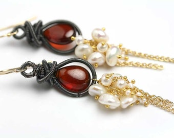 Red Garnet Earrings. Long Garnet Earrings. January Birthstone.