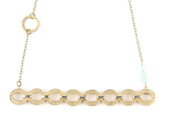 Chain of Fools - Vintage Brushed Gold Tone Chain Link Bar Brooch Necklace